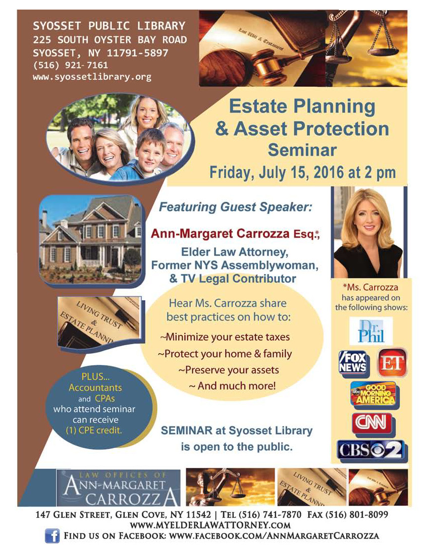 elder law and estate planning flyer may 11 2016